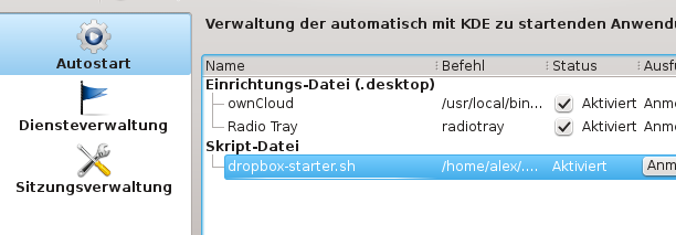 Picture of Dropbox configured for autostart with KDE
