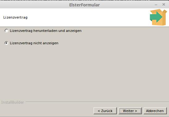 Lizenzdialog von ElsterFormular